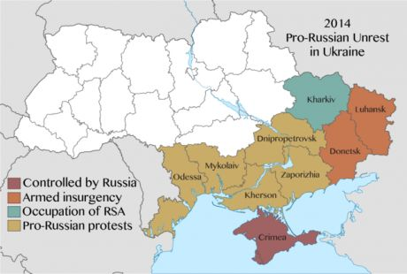 A mid-2014 map of the anti-imperialist crisis in Ukraine's south-east: Donetsk and Luhansk Oblasts have become war-zones; Crimea is annexed by Russia; and Kharkiv's Regional State Administration (RSA) buildings are controlled by the Maidan.
